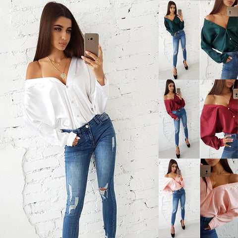 Sexy V-necked One Shoulder long sleeve top Elegant Office Lady Bat Sleeve Button Solid Color Blouse