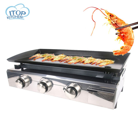 Stainless Steel Barbecue Furnace Commercial / Household Outdoor LPG Gas Furnace Fried Steak Eel Teppanyaki Equipment Kitchen