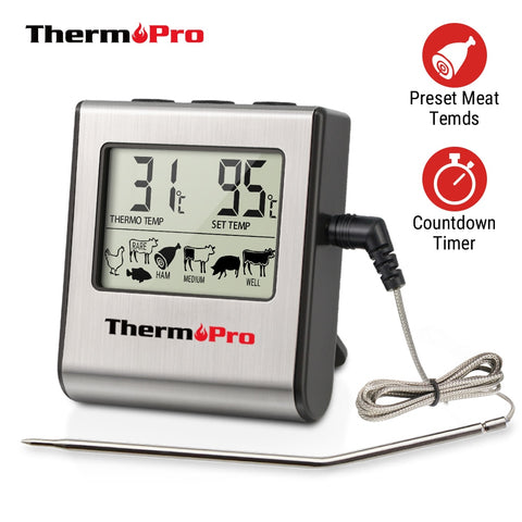 Thermopro TP16 LCD Kitchen Cooking Digital BBQ Meat Thermometer Grill Oven Thermomet With Timer & Stainless Steel Probe For Milk