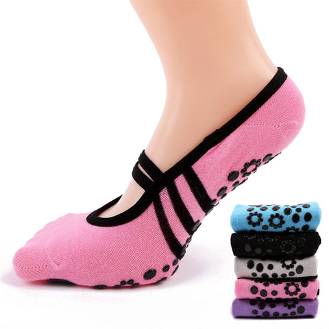Women Anti Slip Bandage Cotton Sports Yoga Socks Ladies Ventilation Pilates Ballet Socks Dance Sock Slippers 6Colours - BuyShipSave