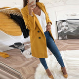 Women Autumn Winter Woollen Coat Long Sleeve Overcoats Loose Plus Size Turn-Down Collar Oversize Blazer Outwear Jacket Elegant