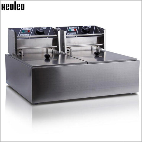 XEOLEO Commercial Fryer Double tank Electric Fryer 2500W*2 Deep fryer Stainless steel French fries machine fried chicken 220V