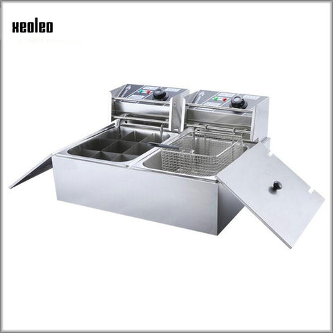 XEOLEO Two-in-one Combination Furnace Commercial Fryer Spicy soup skewer frying pan Multifunction electric hot Oden boiled fryer
