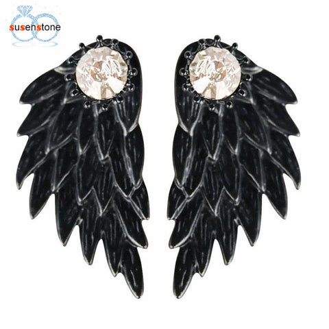 SUSENSTONE Women's Cool Jewelry Angel Wings Rhinestone Alloy Earrings - BuyShipSave