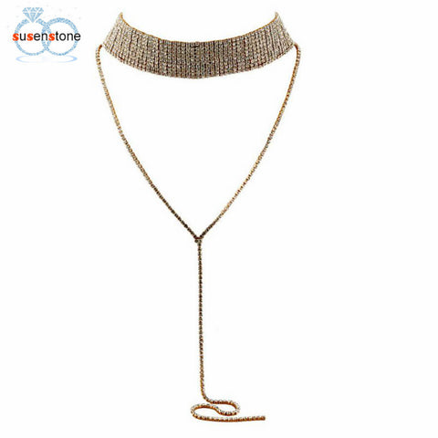 SUSENSTONE Women Tassel Multilayer Full Crystal Rhinestone Necklace Elegant Chain - BuyShipSave