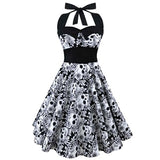 HimanJie Retro Vintage Style Sleeveless 3D Skull Floral Printed 2017 Summer Women Dress Halter Plus Size Party Sexy Casual Dress - BuyShipSave