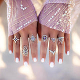 10pcs/Set Women Bohemian Vintage Silver Stack Rings Above Knuckle Blue Rings Set joint Ring Suit Punk Ball Trend All-match #45 - BuyShipSave