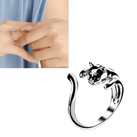 Fashion Silver Color Cute Cat Openings Ring With Black Eyes Jewelry - BuyShipSave