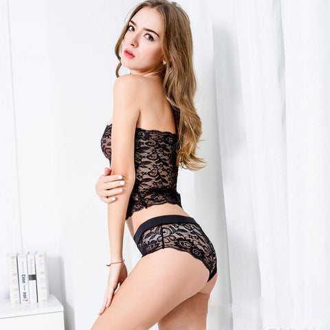 Sexy Women Corset Lace Push Up Vest Top Girl Bra and Pants Set Sleepwear