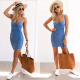 Women's Blue Jean V Neck Strap Sleeveless Bodycon Summer Denim Mini Dress - BuyShipSave