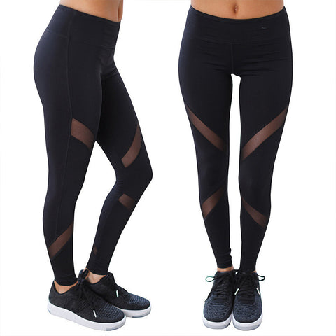 Women's Yoga Sports Mesh Pants Cropped Trousers Stretch Running Workout Leggings Gym Fitness Tights - BuyShipSave