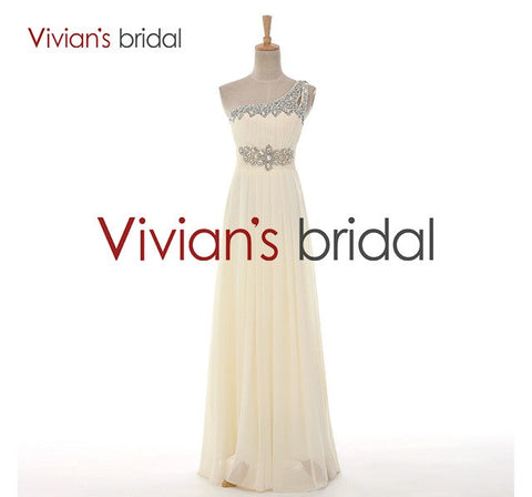 Vivian's Bridal Elegant One Shoulder A-Line Crystals Beadings Long Evening Party Dresses Floor Length Ribbon Chiffon Cheap 2060 - BuyShipSave
