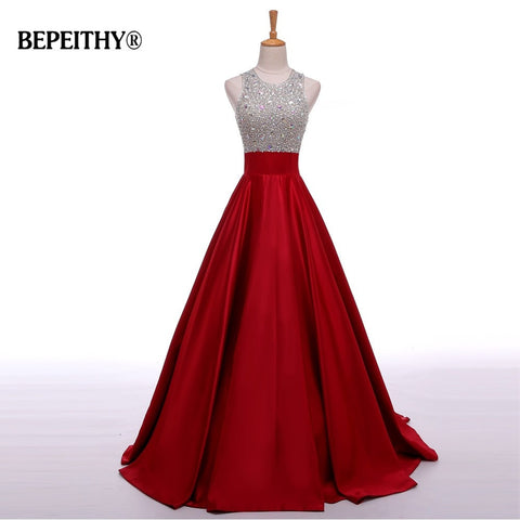 Real Image A Line Long Evening Dress Beadings Crystal Bodice Open Back Party Elegant 2017 Vestido De Festa New Prom Gowns - BuyShipSave