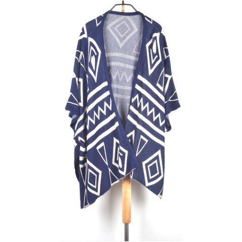 Fashion Spring Autumn Women's Girls Rhombus Pattern Batwing Sleeves Long Loose Knitted Cardigan Shawl Cape Sweater Coat One - BuyShipSave