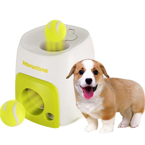 Pet Dog Puppy Interactive Fetch Ball Trainning Baseball Reward Machine Tennis Pet Funny Toys for Small Animals (Ball Included)