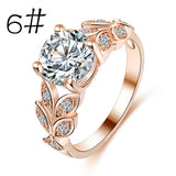 Flower Crystal Wedding Ring For Women Jewelry Accessories Rose Gold Gold Engagem - BuyShipSave
