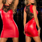 Tight-fitting sexy Lace Dress slim Wet Look Fetish Bondage Vinyl red PVC dress Leather Bodycon - BuyShipSave