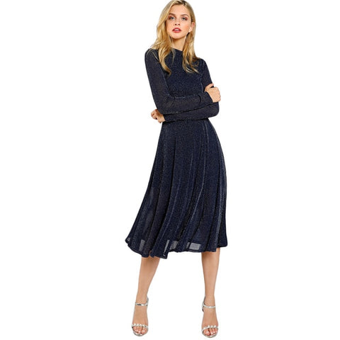 SHEIN A Line Ladies Dresses Navy Long Sleeve Mock Neck Glitter Fit abd Flare Dress Stand Collar Elegant Party Dress - BuyShipSave