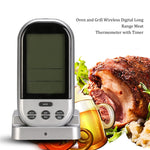 Oven and Grill Wireless Digital Long Range Meat Thermometer with Timer (Silver)