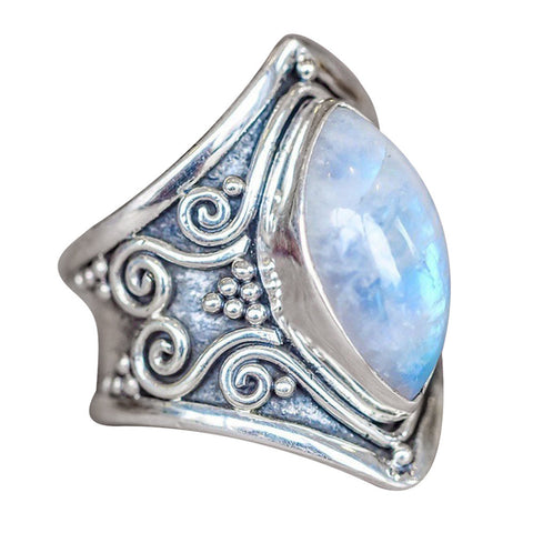 1PC Boho Jewelry Silver Natural Gemstone Marquise Moonstone Personalized Ring - BuyShipSave