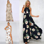 Women Chiffon Dress Floral Print Halter Sleeveless Split Backless Hollow Out Beach Maxi Gown Elegant Party One-Piece - BuyShipSave