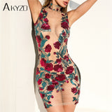 AKYZO Summer Mesh Embroidery Shirt Dress High Quality Women Sexy See Through Stand Bodycon Party Beach Mini Dresses - BuyShipSave
