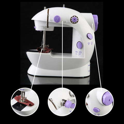 ABEDOE Electric Household Sewing Machine 2-Speed Portable Tailor Small Mini Multifunction Automatic Tread Rewind Sewing Machine - BuyShipSave