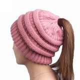 Womens Ponytail Cap Warm Soft Stretchy Beanie Knitted Hat Messy High Bun Ponytail Beanie Hat - BuyShipSave