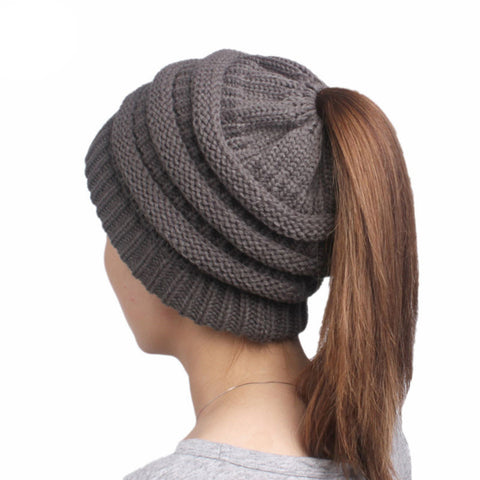 Womens Ponytail Cap Warm Soft Stretchy Beanie Knitted Hat Messy High Bun Ponytail Beanie Hat