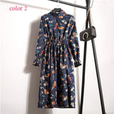 Corduroy High Elastic Waist Vintage Dress A-line Style Women Full Sleeve Flower Plaid Print Dresses Slim Feminino 18 Colors - BuyShipSave