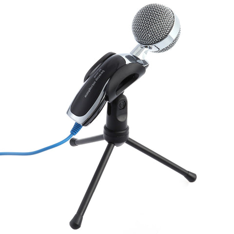 USB Computer Microphone SF-922B Professional Condenser Microphone Mic Tripod Stand for Desktop PC Notebook - BuyShipSave