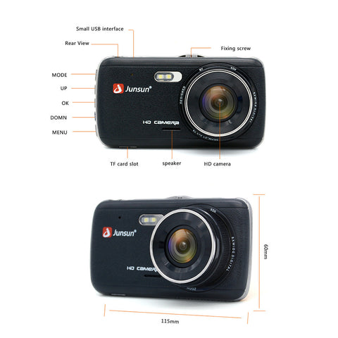 "Junsun H7 IPS 4"" Car DVR Camera Dual Lens with ADAS LDWS Full HD 1296P Car Distance warning Monitor - BuyShipSave"