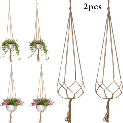 2PCS 47 Inches Plant Flower Hanger Macrame Jute for Indoor Outdoor Ceiling Deck Balcony Round and Square Pots - BuyShipSave