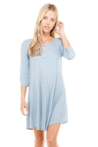 Women's 3/4 Three Quarter Sleeve Button Down Dress - BuyShipSave