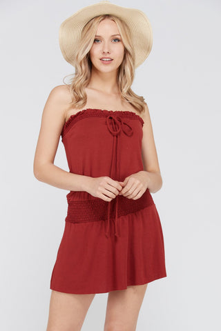 Women's Smock Strapless Dress with Elastic Waistband - BuyShipSave