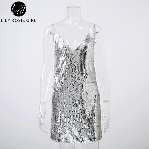 Deep V Neck Silver Sequined Backless Sexy Dress Women Off Shoulder Mini Dress Short Christmas Party Club Strap Dresses Vestidos - BuyShipSave