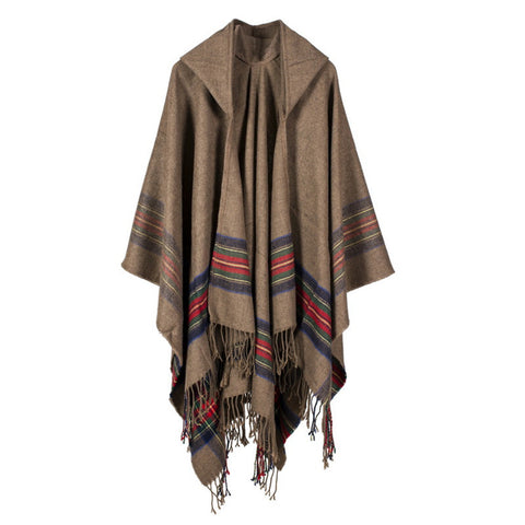 Women Blanket Shawl Wrap Open Poncho Cape with Hat Winter Striped Scarf - BuyShipSave