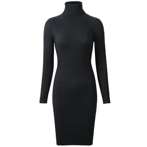 Neophil 2018 Womens Winter Knitted Sheath Turtle Neck Dresses Long Sleeve Bodycon Solid Basic Sexy Mini Dresses Vestidos D1801