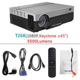 ThundeaL Full HD Projector T26K Native 1080P 5500 Lumens Video LED LCD Home Cinema Theater HDMI VGA USB TV 3D Option T26 Beamer - BuyShipSave