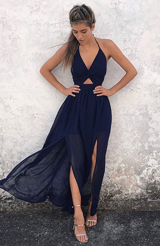New Hot Selling Women Maxi Long Dress Holiday Summer Evening Party Beach Slit Spilt Sundress Woman Ladies Sleeveless Dresses - BuyShipSave
