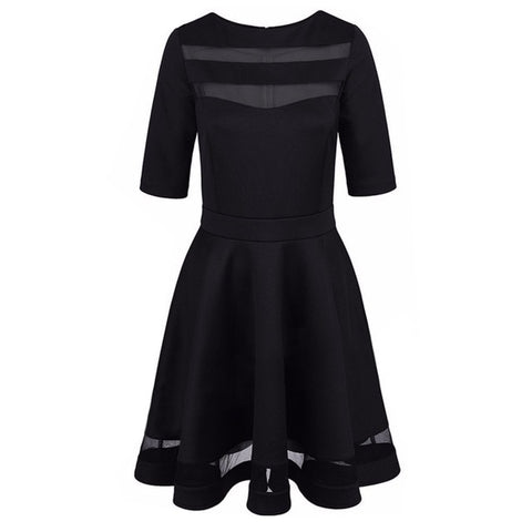 2018 Women Dress Spring Summer European Style Ladies Knee Length Vintage Mesh Sexy Black Party Dresses Vestidos Black Dress S-XL - BuyShipSave