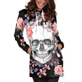 Skull Long Sleeve Bodycon Women Mini Dress Rose Floral Hoodies Sweatshirt Dress Autumn Femme Hooded Vestidos de festa Jurken 3XL - BuyShipSave