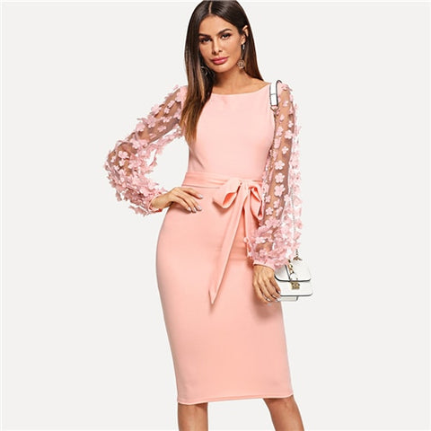 Sheinside Plain Flower Applique Elegant Bodycon Party Dress Mesh Sleeve Knee Length Belted Women Autumn Pencil Midi Dresses - BuyShipSave