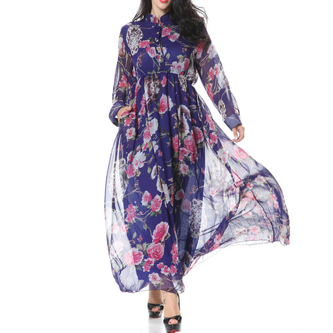 Women Casual Elegant Long Sleeve High Waist Dresses Floral Print Chiffon Maxi Dress with Pockets