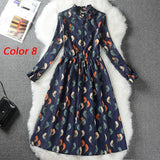 Corduroy High Elastic Waist Vintage Dress A-line Style Women Full Sleeve Flower Plaid Print Dresses Slim Spring Dress 18 Colors - BuyShipSave