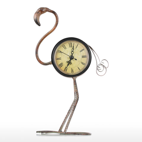 Flamingo Clock Handmade Vintage Metal Flamingo Figurine Mute Table Clock - BuyShipSave