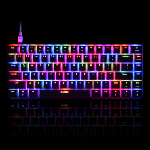 AJAZZ AK33 Linear Action Mechanical Keyboard Gaming E-sport LED Colorful Keyboard 82 Keys USB Wired Anti-Ghosting for PC Notebook Laptop Desktop - BuyShipSave