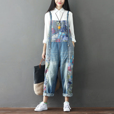 Women's Wide Leg Jeans Full Length Loose Denim Overalls Washed Print Ripped Hole Overalls - BuyShipSave