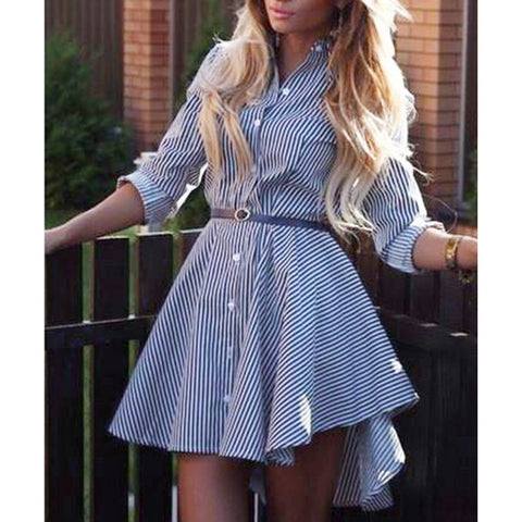 Women Striped Dress Long Sleeves Button Down Front Asymmetrical Hemline Casual Shirt Dress - BuyShipSave