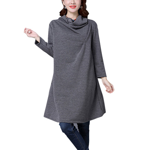 Casual Long Sleeve Heaps Collar Plain Irregular Loose Dress for Women Girls - BuyShipSave